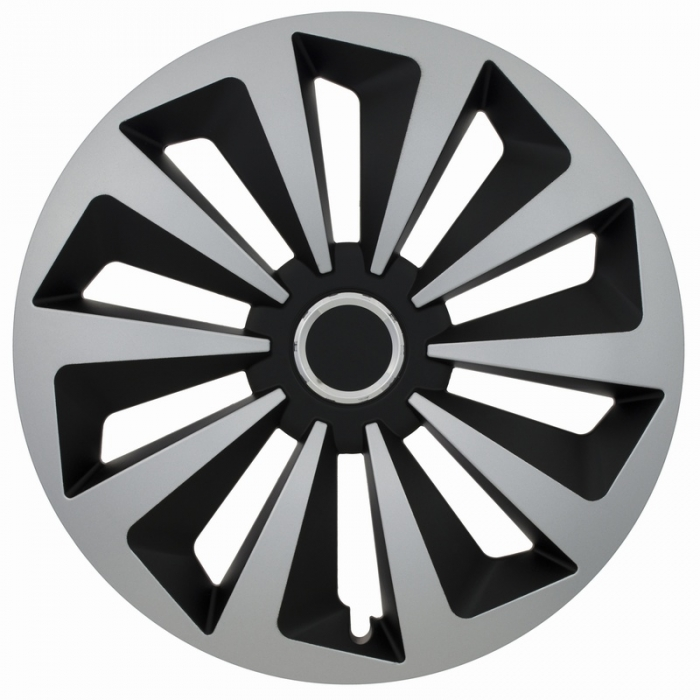 Kołpaki samochodowe Fox ring mix - czarno srebrny, 16 cali