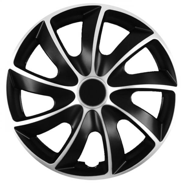 Kołpaki samochodowe Quad srebrno-czarny, 15 cali