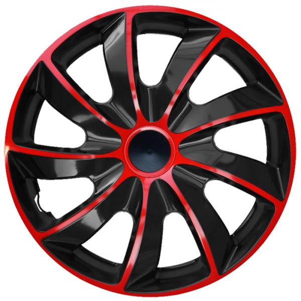 Kołpaki samochodowe Quad czerwono-czarny, 13 cali