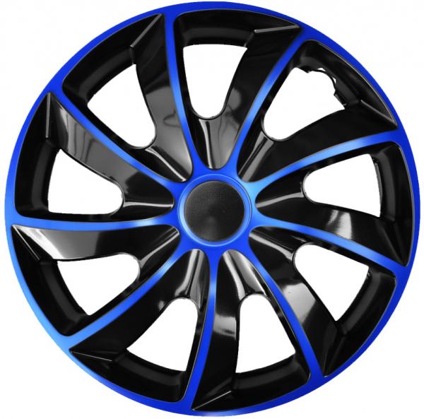 Kołpaki samochodowe Quad niebiesko-czarny, 16 cali