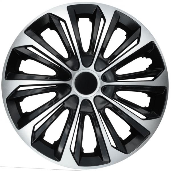 Kołpaki samochodowe Strong - srebrno czarny, 16 cali