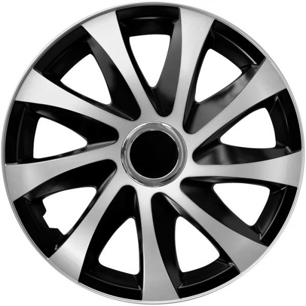 Kołpaki samochodowe Drift - srebrno czarny, 15 cali