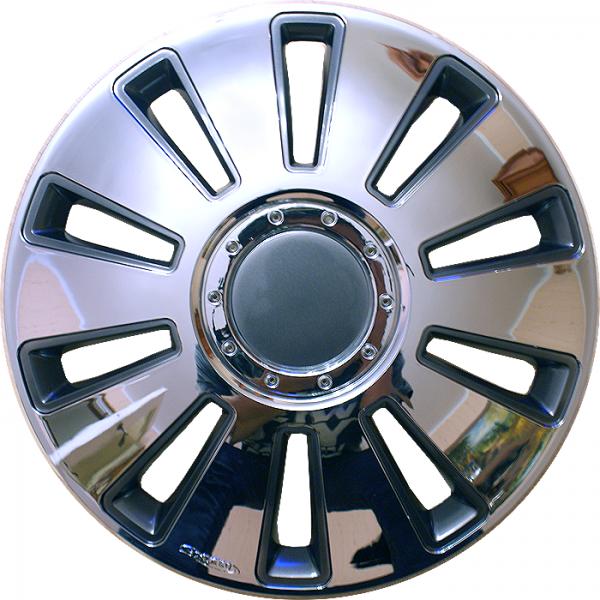 Kołpaki samochodowe Silverstone, chromowo czarny - 15 cali