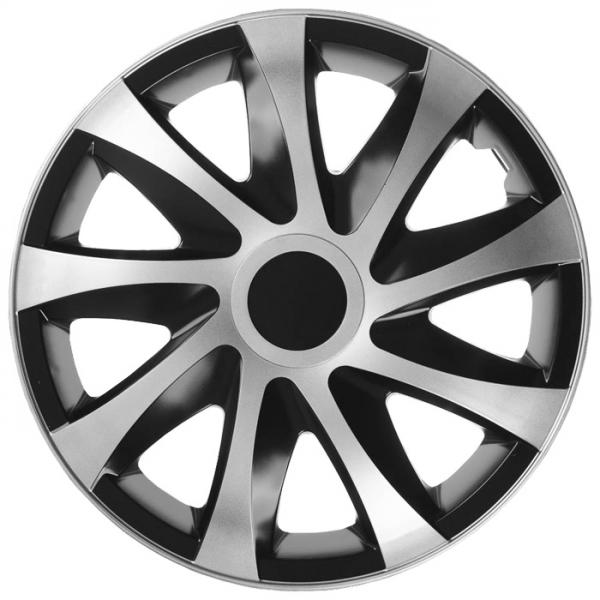 Kołpaki samochodowe Draco - srebrno czarny, 14 cali