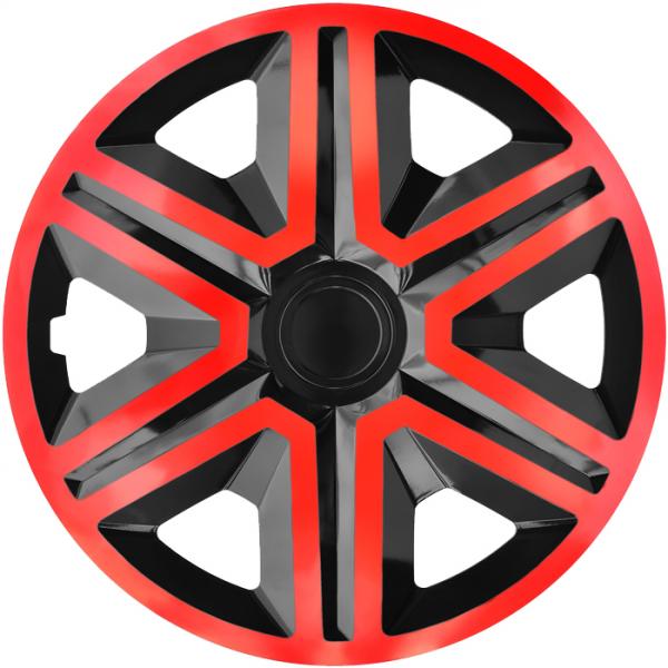Kołpaki samochodowe Action - czerwono czarny, 15 cali