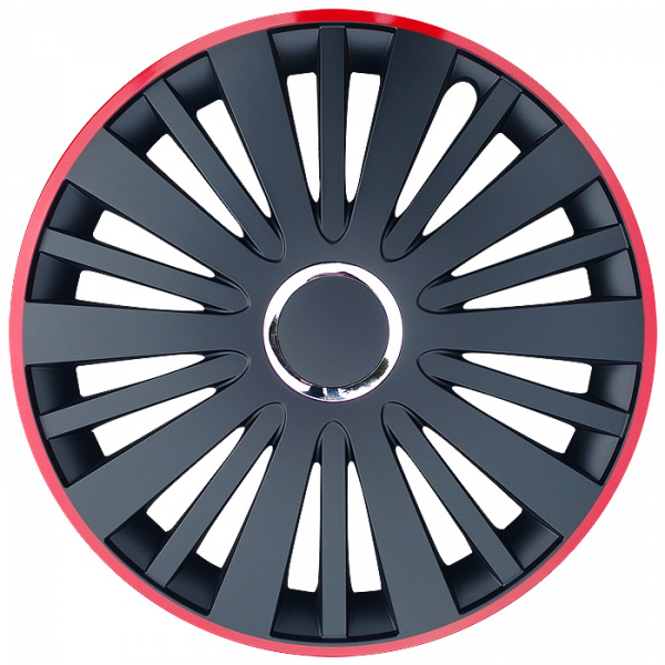 Kołpaki samochodowe Falcon - czerwono czarny, 15 cali