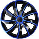 Kołpaki samochodowe Quad niebiesko-czarny, 15 cali